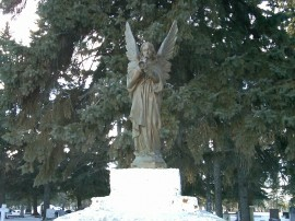 Detail from cemetery gates, Morinville. 31 January 2012. (Photo: Hendrik Slegtenhorst)