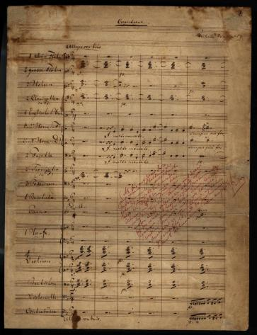 Der fliegende Holländer (The Flying Dutchman) Overture. Manuscript copy in Wagner's handwriting with notes to his publisher.