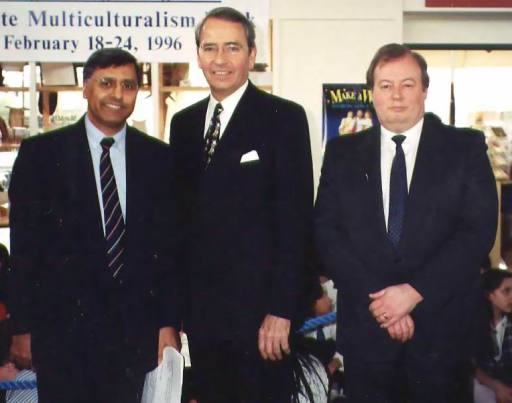 As executive director of the Vancouver Museum. With British Columbia Attorney-General Ujjal Dosanjh and Vancouver Mayor Philip Owen. 1996.