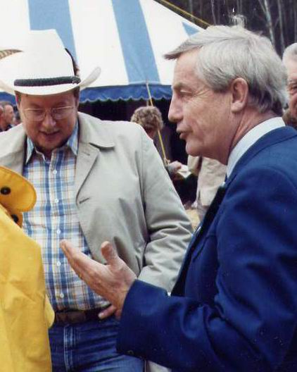 With Premier Peter Lougheed, at ground-breaking of Athabasca University campus. 1983.