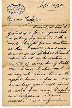 Cursive letter in English, 1894 (Courtesy: Wikipedia)