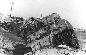 Destroyed Egyptian tanks at Sinai