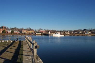 St. Stephen, NB from Calais, Maine. Old town hall is at far left. (Courtesy: Maineanencylopedia.com)