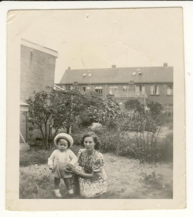 My mother and I - in the garden of the house on Kanaalstraat, Leiden, summer 1951