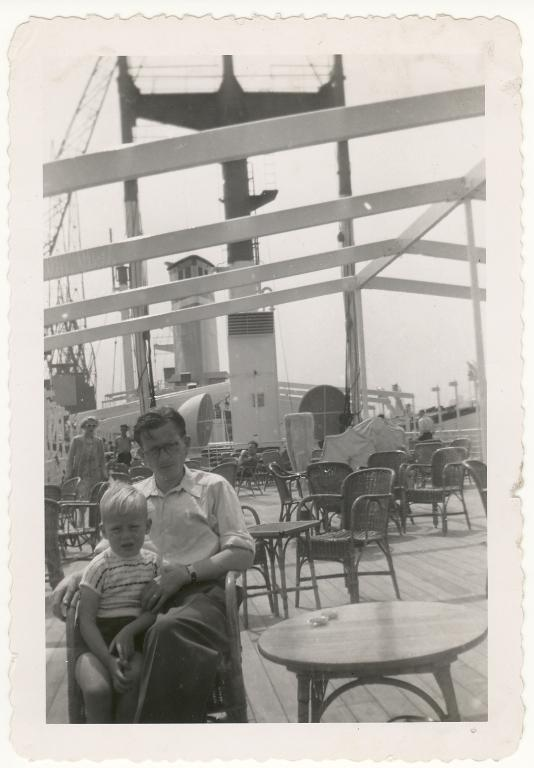 My father and I - on the deck of the Zuiderkruis, mid-Atlantic, July 1952