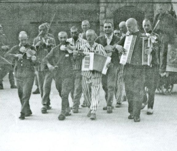 Inmate orchestra, Mauthausen concentration camp, 30 June 1942. (Courtesy: Wikipedia)
