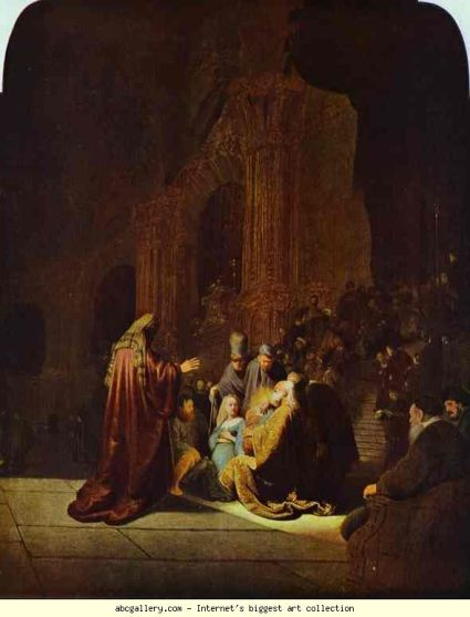 Rembrandt: The Presentation of Jesus in the Temple. 1631. (Courtesy: www.abcgallery.com)
