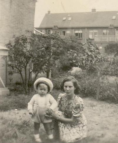 My mother, Gerrit Rijsbergen Slegtenhorst, in the garden of the house on Kanaalstraat, Leiden, summer 1951