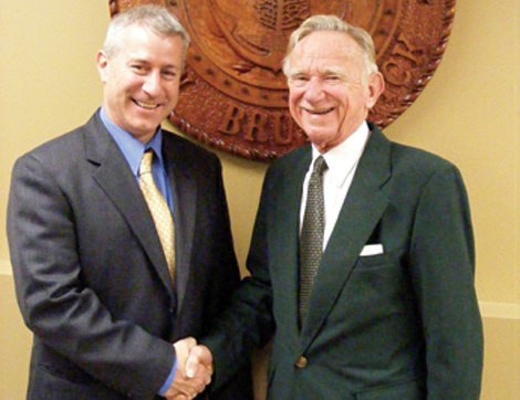 John Ferguson welcomed to St. Stephen by the late Jed Purcell, mayor to both of us (Courtesy: Saint Croix Courier)