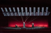 The Norns in the Prologue of Götterdämmerung, in the Robert Lepage production at the Metropolitan Opera