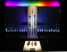 The Rainbow Bridge at the conclusion of Das Rheingold, in Robert Lepage's production.