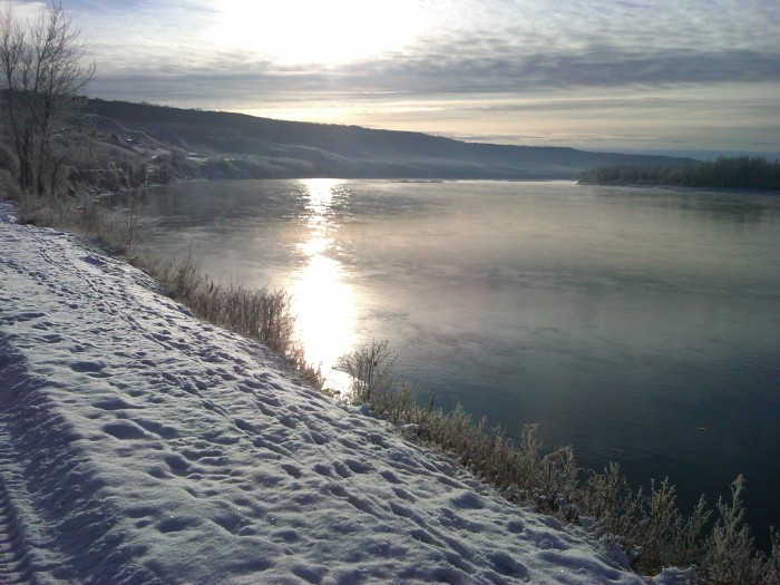 The Peace River, from 99th Street, 16 December 2011, Beethoven's birthday. (Photo: Hendrik Slegtenhorst)