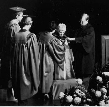 Dorothy Livesay receiving her honourary doctorate from Athabasca University (I am on the right)