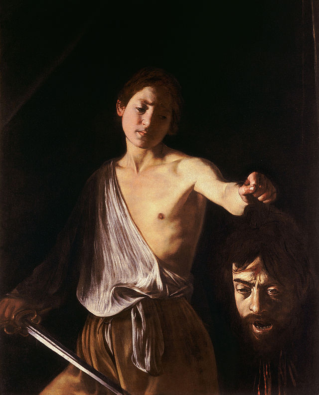 Caravaggio - David with the Head of Goliath (1610). The face of Goliath is Caravaggio's. The face of David is Cecco, the painter's studio assistant and lover whom he abandoned for Malta.