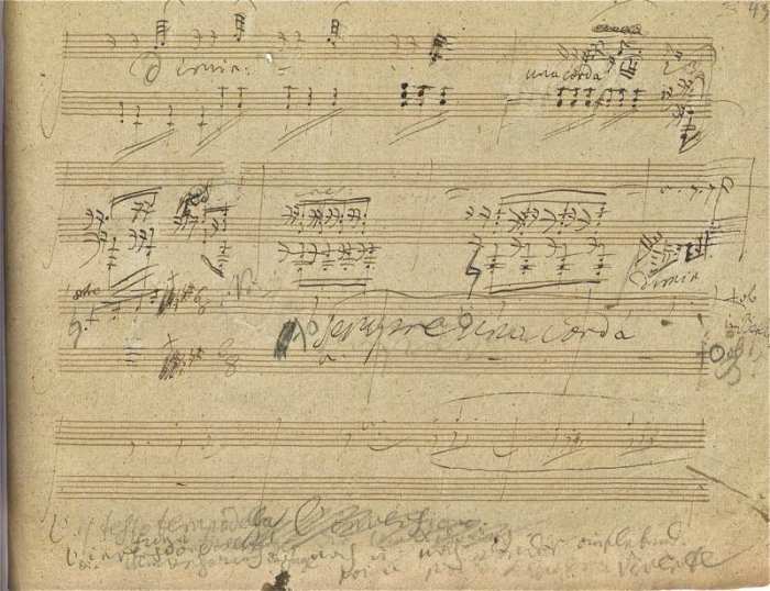 Beethoven, Op. 110 autograph, 3rd movement, conclusion of the second iteration of the Klagender Gesang (Courtesy: www.omnifacsimiles.com)
