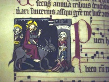 Miniature of Christ's entry into Jerusalem. Early 14th century processional. From a female Dominican house in Strasbourg. (Courtesy: Badische Landesbibliothek, Karlsruhe, Germany.)