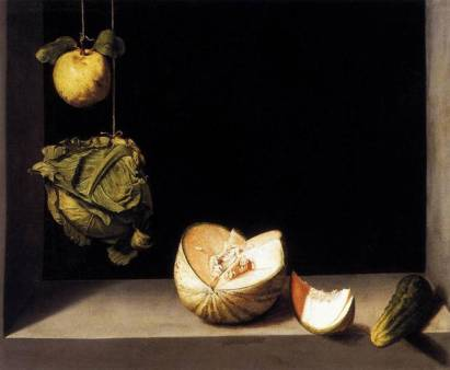 Quince, Cabbage, Melon and Cucumber, by Juan Sánchez Cotán