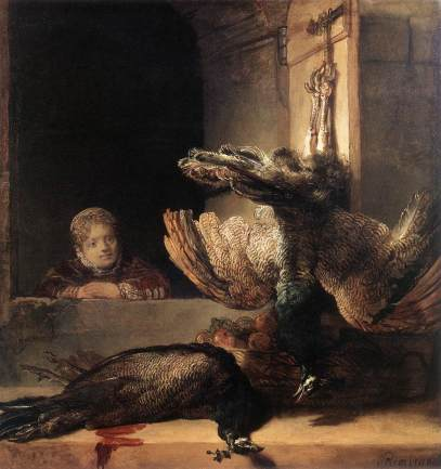 Two Dead Peacocks and a Girl, by Rembrandt