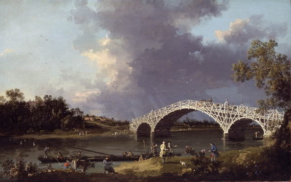 Canaletto: Old Walton Bridge, c. 1750-55 (Courtesy: visualelsewhere.wordpress.com).  An influence on Constable.