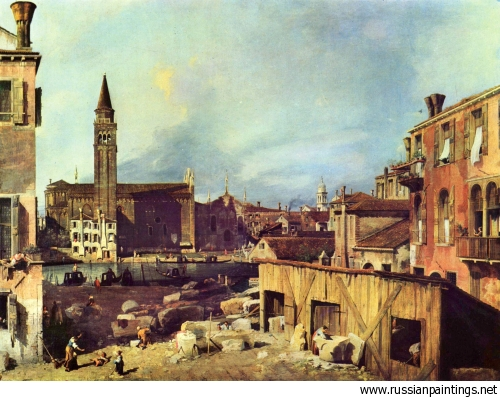 Canaletto: The Stonemason's Yard, Sta Maria della Carità from across the Grand Canal, 1726-7 Courtesy: (russianpaintings.net)