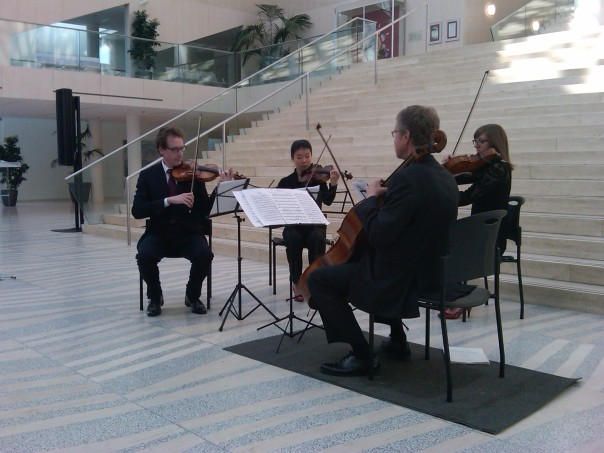 The Enterprise Quartet, breathing life anew into Luigi Cherubini's music, Edmonton City Hall, 8 March 2015 (Photo: Hendrik Slegtenhorst)
