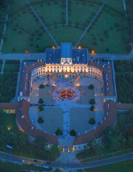 Esterháza Palace, illuminated at night