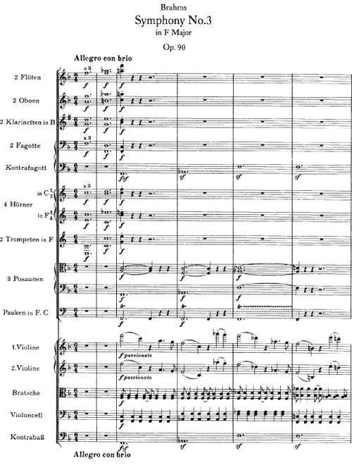 Brahms, Symphony 3, beginning