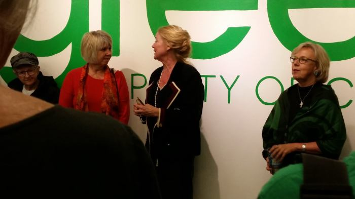 Green Party of Canada, Vancouver Centre campaign office. L to R: Adriane Carr, city councillor and deputy leader of the federal Green Party; Lisa Barrett, candidate; Elizabeth May, leader of the federal Green Party. 28 September 2015. (Photo: Hendrik Slegtenhorst)