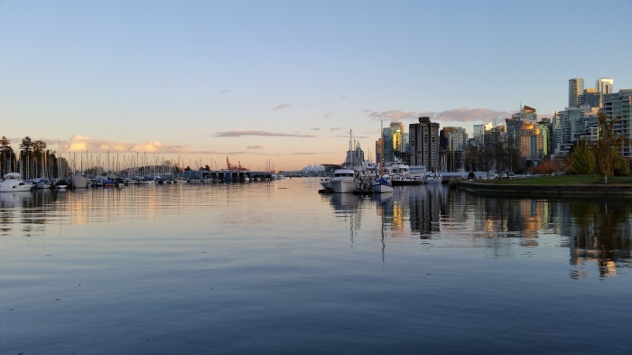 The Stanley Park marinas at Coal Harbour, and the downtown of the city, Vancouver, Canada. 9 November 2015. (Photo: Hendrik Slegtenhorst)