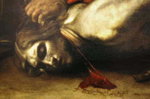 Caravaggio - The Beheading of John the Baptist - Detail, with the signature of the artist in the prophet's blood