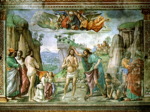 Domenico Ghirlandaio : Baptism of Christ by John the Baptist (1482)