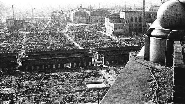 Aftermath of WWII US Bombing of Tokyo, 9-10th March 1945 (Courtesy: www.bbc.com)