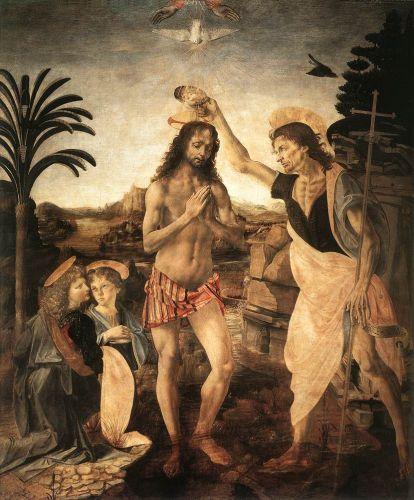 Andrea del Verrocchio and Leonardo da Vinci: The Baptism of Christ (c. 1475)
