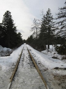 New Brunswick Southern Railway, off Hawthorne Street south of Queen Street West, St. Stephen, New Brunswick, February 3rd, 2008. (Photo: Hendrik Slegtenhorst)