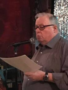 Hendrik Slegtenhorst, at Poetry New West, New Westminster, BC,  reading from A Sequence on Ethics, 15 January 2017 (Photo: Alan Hill)