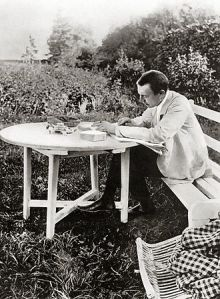 Sergei Rachmaninov, Ivanoka, Russia, 1910, proofing the publication of the third piano concerto