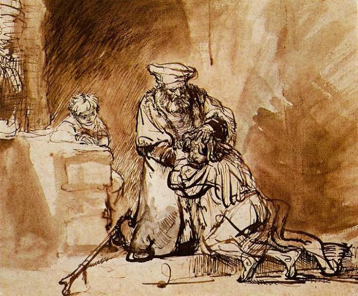 Rembrandt : Drawing of the return of the prodigal son (1642)