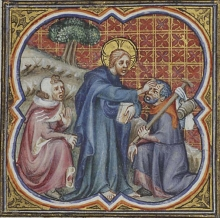 The healing of a leper. Illustrated manuscript. Unknown French master.