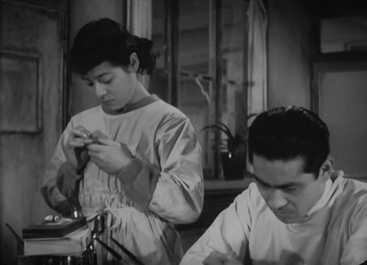 Noriko Sengoku and Toshiro Mifune, in a still from The Quiet Duel.