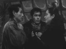Masayuki Mori, Toshiro Mifune, and Setsuko Hara in Akira Kurosawa's The Idiot.