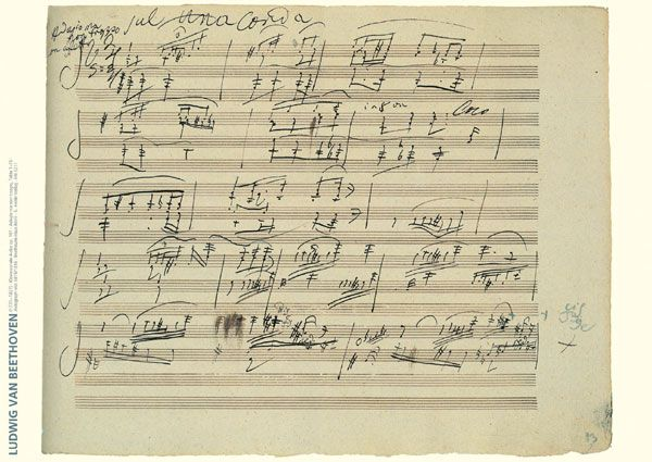 Beethoven : Op, 101. Original MS of the adagio.