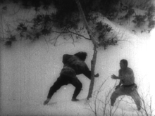 The concluding combat in the snows. Still from Akira Kurosawa's Sanshiro Sagata Part Two.
