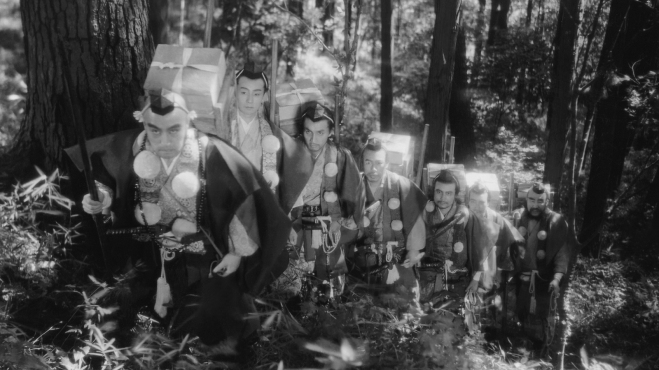 Still from the opening scene of Akira Kurosawa's The Men Who Tread on the Tiger's Tail