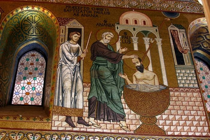 Baptism of St. Paul. Capela Palatina, Palermo.