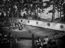 At the barrier gate. Still from Akira Kurosawa's The Men Who Tread on the Tiger's Tail.