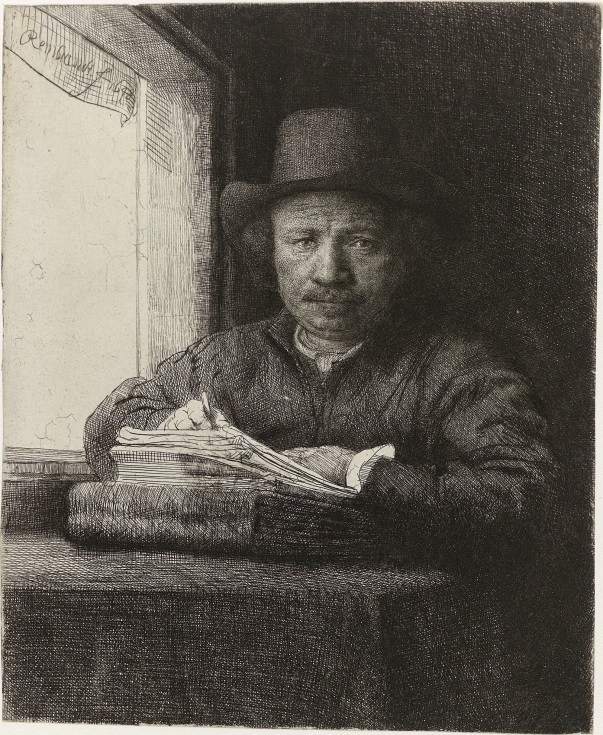 Rembrandt, drawing at a window. Self-portrait, 1648.