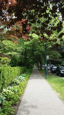 Nelson Street from Bidwell Street, in Vancouver's West End. (Photo: Hendrik Slegtenhorst)