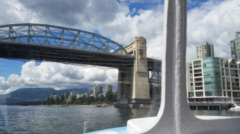 In the ferry after passing beneath Burrard Bridge.