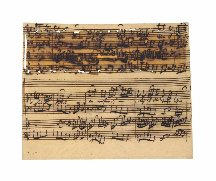 Autograph page from the 4th movement of BWV 188. Auctioned by Christie's in 2014 for £206,500.