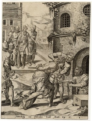 Dirk Volkertsz Coornhert : Parable of the Unmerciful Servant (1554) (Courtesy: The British Museum)